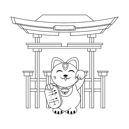 Red gate and Maneki neko cat icon over white background, vector illustration