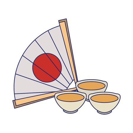 tea cups and chinese hand fan icon over white background, vector illustration Иллюстрация