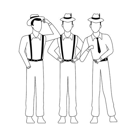 three men with cuban style over white background, vector illustration