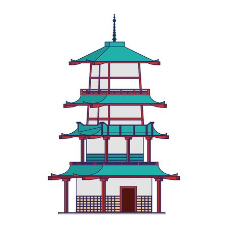 pagoda temple icon over white background, vector illustration Stock fotó - 131940887