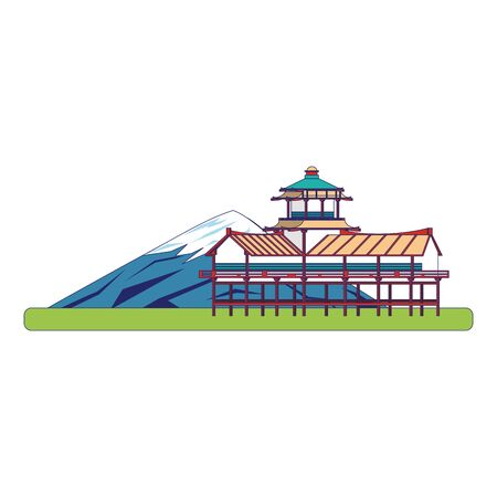 fuji mountain and temple icon over white background, vector illustration Ilustracja