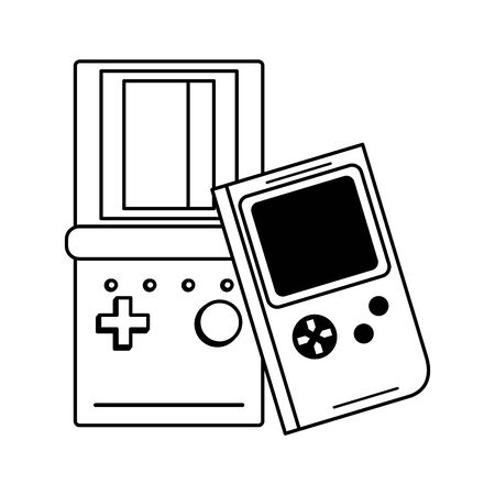 retro vintage game tetris gameplay consoles isolated cartoon vector illustration graphic design Иллюстрация