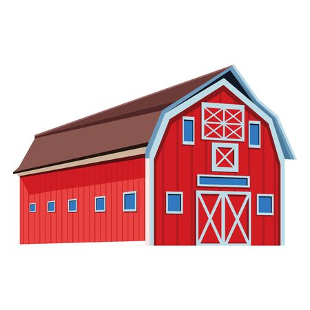 wooden farm barn icon over white background, vector illustration Ilustração