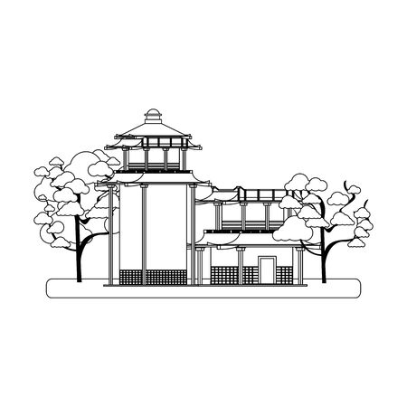 Japanese house with blossom trees over white background, vector illustration