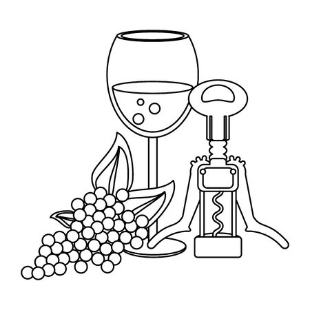 corkscrew and wineglass with bunch of grapes over white background, vector illustration