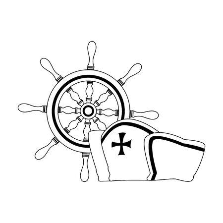 marine navigation helm with hat sailor vector illustration design Иллюстрация