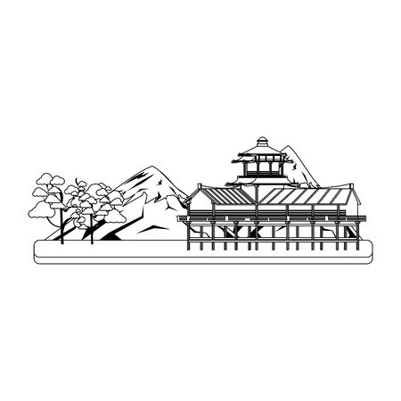 mountain fuji landscape with blossom tree and asian temple over white background, vector illustration Illusztráció