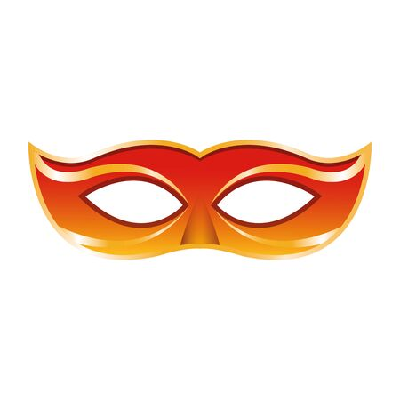orange carnival mask icon over white background, vector illustration