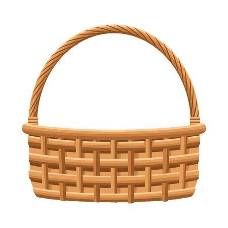empty fruits basket icon over white background, flat design. vector illustration