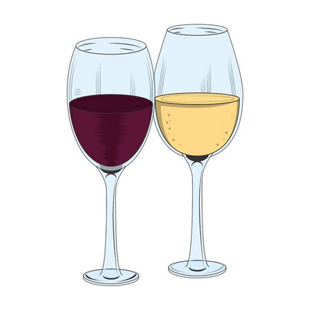 Icône de verres à vin sur fond blanc, illustration vectorielle