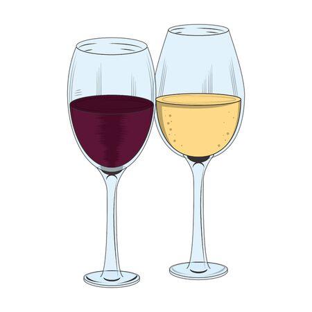 icona di bicchieri da vino su sfondo bianco, illustrazione vettoriale
