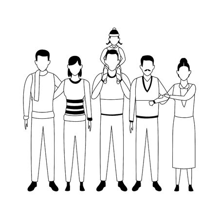 avatar grandfathers with sons and grandchild over white background, vector illustration