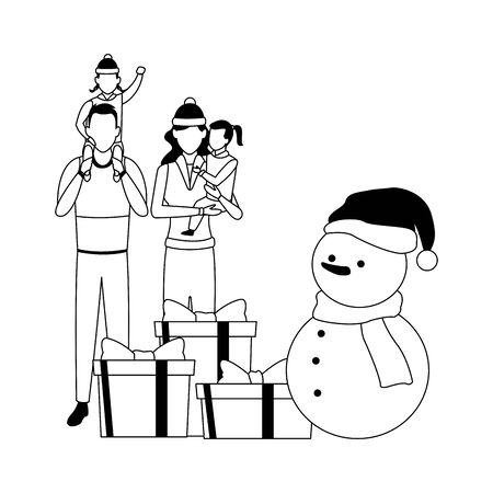 avatar family with kids standing around snowman and gift boxes over white background, vector illustration Ilustração