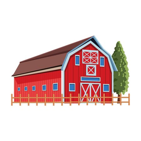 wooden farm barn and trees icon over white background, vector illustration