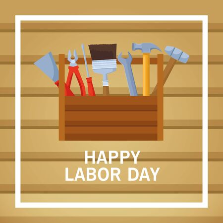 labor day usa celebration american patriotic card, tribute to builder people workers heavy work with wooden background cartoon vector illustration graphic design