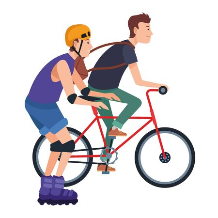 Friends riding in bicycle and skates with helmet cartoon ,vector illustration graphic design. Çizim
