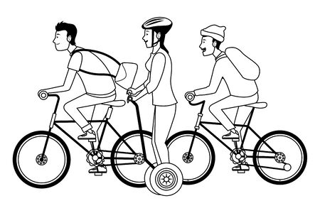 Young people riding with bicycles and electric scooter wearing accesories ,vector illustration graphic design. Ilustracja