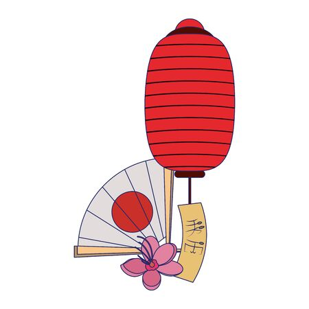 chinese lanterns and hand fan with blossom flowers icon over white background, vector illustration