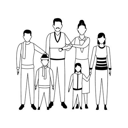 avatar grandfathers with kids and little kids over white background, flat design. vector illustration Ilustração