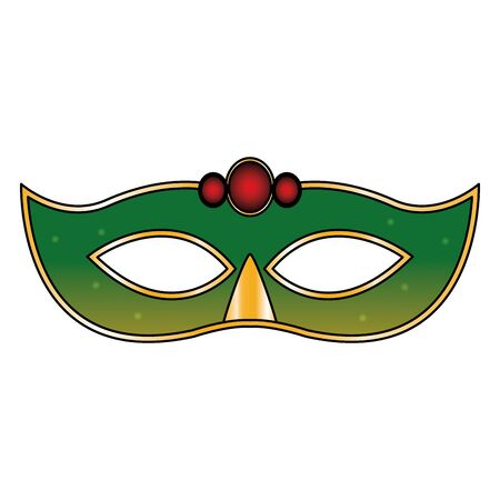 green carnival mask icon over white background, colorful design. vector illustration Çizim