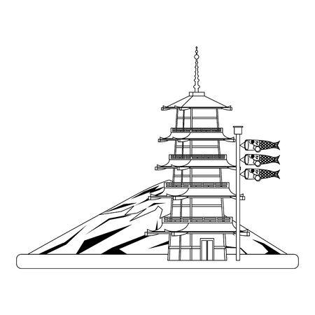 Mountain fuji with pagoda Japanese koinobori flag over white background, vector illustration Ilustracja