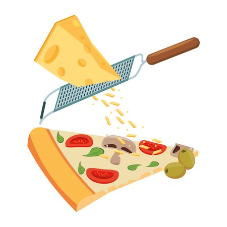 Grating cheese over pizza slice over white background, vector illustration Ilustrace