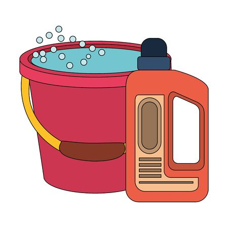 Cleaning equipment and products water in bucket and soap bottle vector illustration graphic design.