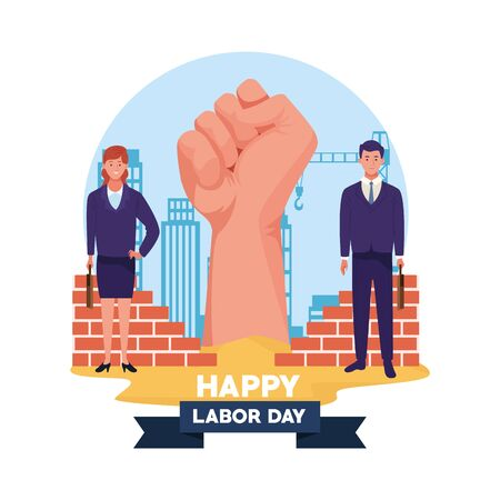 happy labor day usa celebration card, tribute to professional workers, jobs characters with clenched hand over cityscape ,vector illustration graphic design.