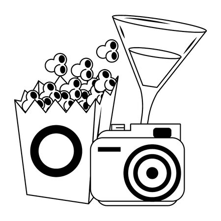 pop corn box with camera and cocktail drink over white background, vector illustration