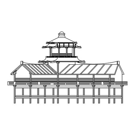 chinese building icon over white background, vector illustration