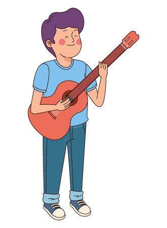 Teenager boy playing the guitar cartoon isolated,vector illustration graphic design. Çizim