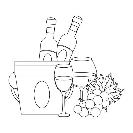 ice bucket with wine bottles and bunch of grapes over white background, vector illustration Çizim