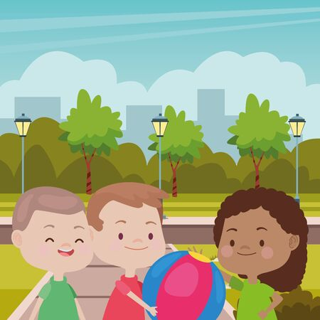 Happy kids smiling and playing with friends and ball cartoon in the park over cityscape urban scenery ,vector illustration graphic design.