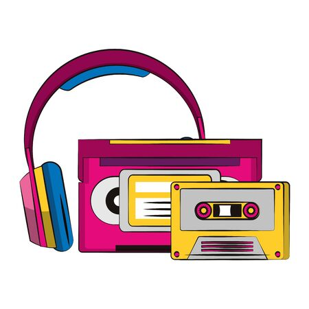 retro cassettes and headphones over white background, vector illustration