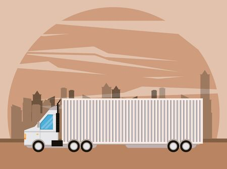 truck transportation logistic merchandise delivery making travel in distribution city route cartoon vector illustration graphic design