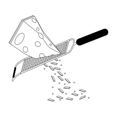 grater with cheese over white background, vector illustration