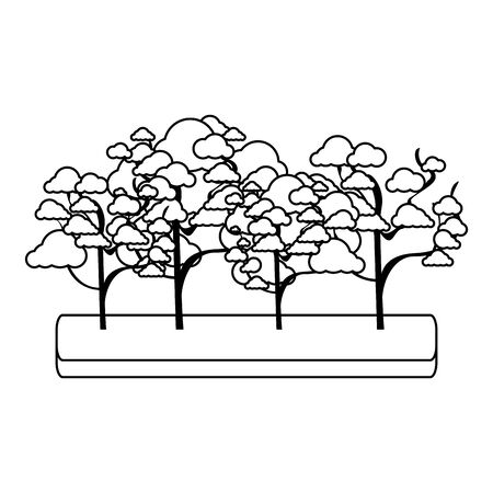 cherry blossom tree and trees icon over white background, vector illustration