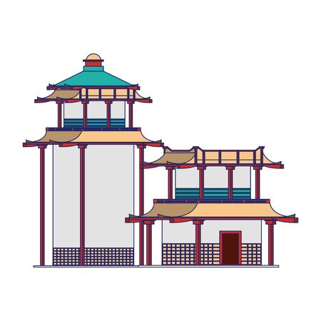 Asian temples icon over white background, vector illustration Stock fotó - 131969157