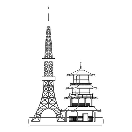 japan tower and building icon over white background, vector illustration Stock fotó - 131971210