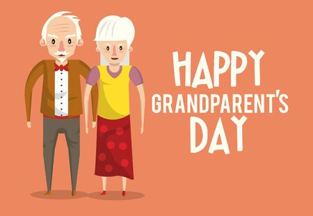 Happy grandparents day card with grandfather and grandmother couple cartoons ,vector illustration graphicdesign. Çizim