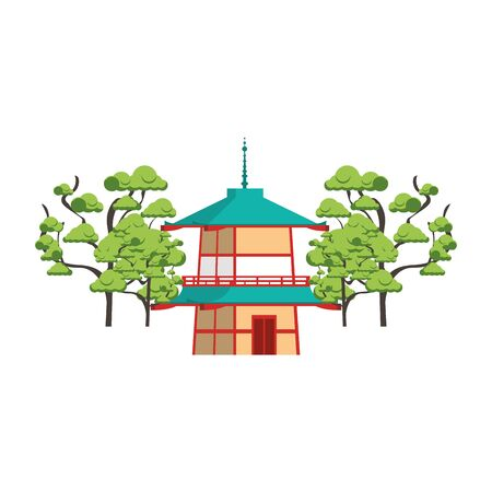 chinese house and trees around over white background, vector illustration