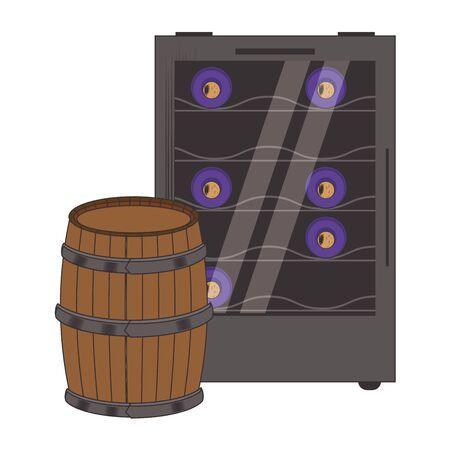 wine cooler fridge and wooden barrel icon over white background, vector illustration Vektorové ilustrace