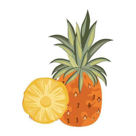 delicious fresh citrus pineapple isolated cartoon vector illustration graphic design