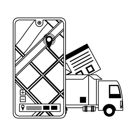 logistic and delivery shipping with truck carrying merchandise and gps location tracing cartoon vector illustration graphic design