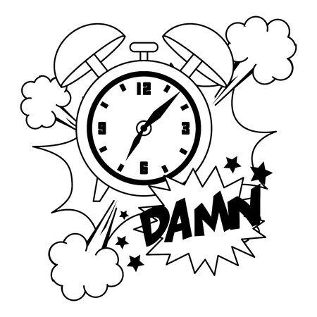 pop art design of retro clock icon over white background, vector illustration