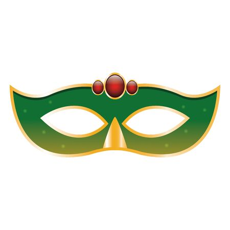 green Masquerade mask icon over white background, vector illustration