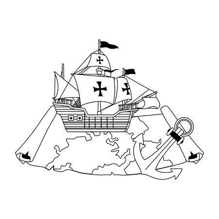 Navire caravelle antique avec carte papier et conception d'illustration vectorielle de navigation d'ancre Vecteurs