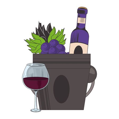 bunch of grapes with wine bottle and glass over white background, vector illustration