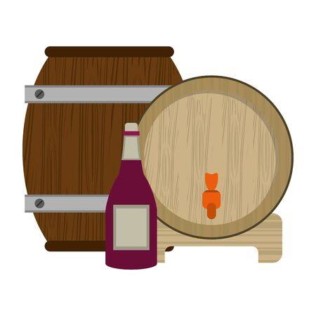 wine wooden barrel with wine bottle over white background, colorful design. vector illustration Ilustrace