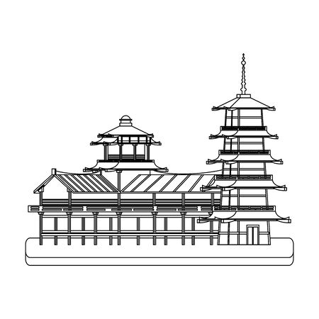 pagoda temple and buildings icon over white background, vector illustration Stock fotó - 131976950